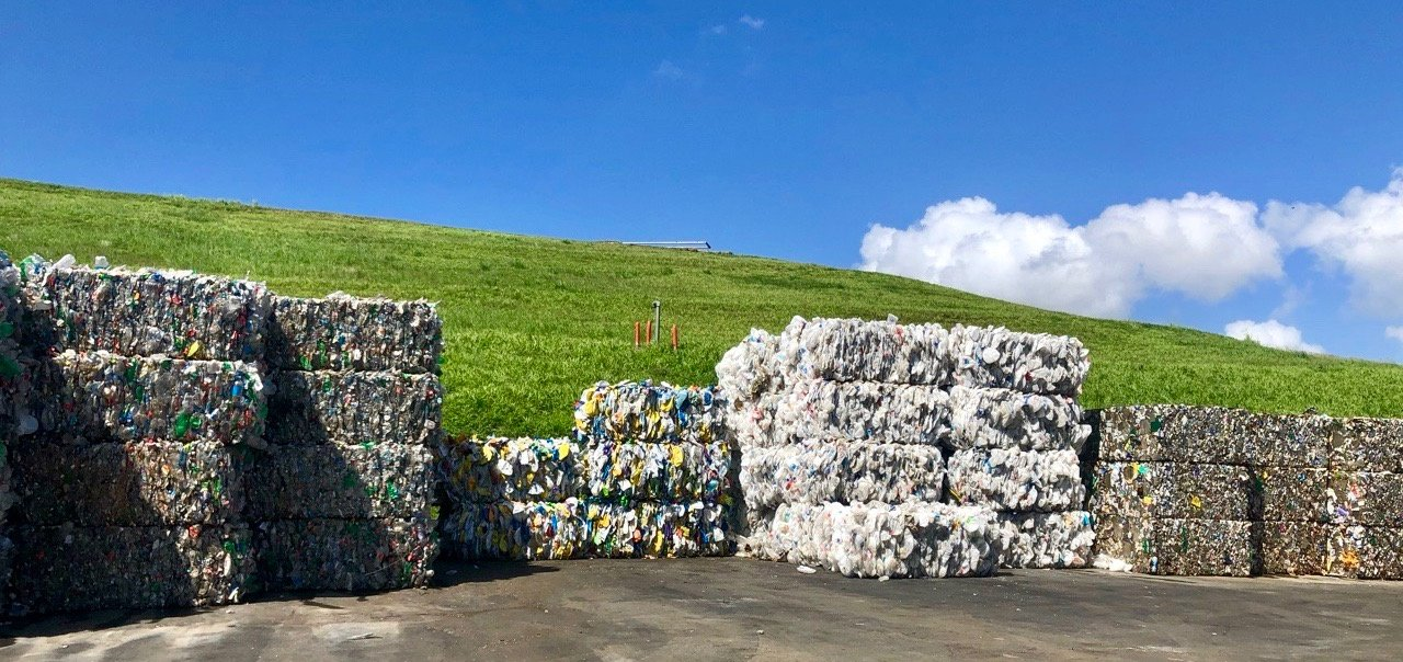 Bales at a ConWaste-managed recycling facility in Guaynabo, Puerto Rico, which recently hosted an America Recycles Day event