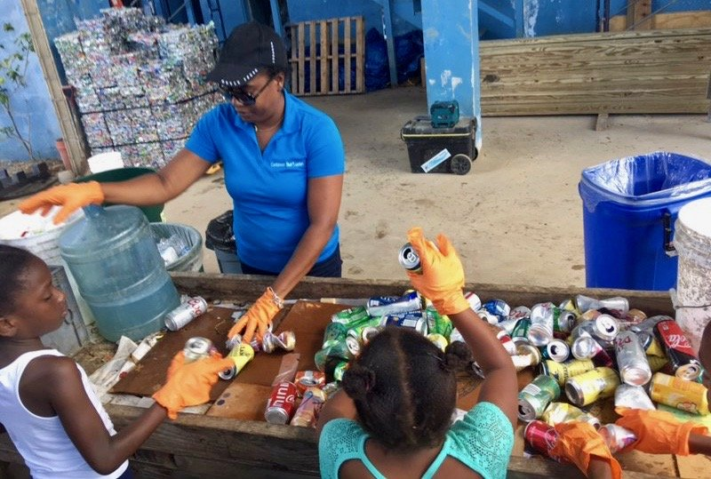 Can sorting in action at Island Green in the U.S. Virgin Islands